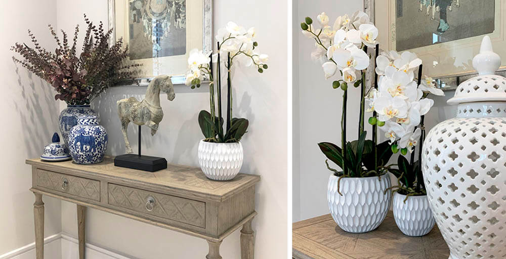 Faux Potted White Orchids at Pavilion Broadway