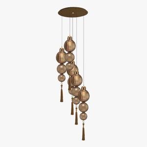 Heathfield Cluster Pendant Light Medina in Brass