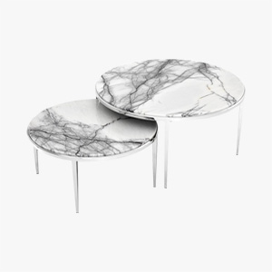 Coffee Table Fredo Set of 2 with Marble Top