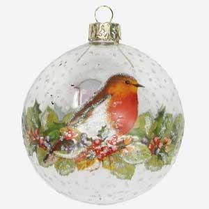 Gisela Graham Clear Christmas Bauble with Robin & Fruit