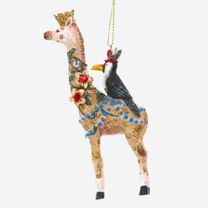 Gisela Graham Giraffe Tree Decoration with Bird