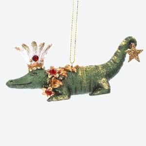 Gisela Graham Crocodile Christmas Tree Decoration with Crown