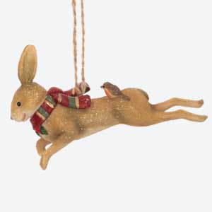 Gisela Graham Leaping Hare Tree Decoration with Scarf