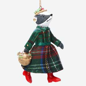 Gisela Graham Mrs Badger Christmas Tree Decoration