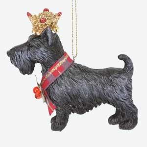 Gisela Graham Christmas Tree Decoration Scottie Dog with Crown