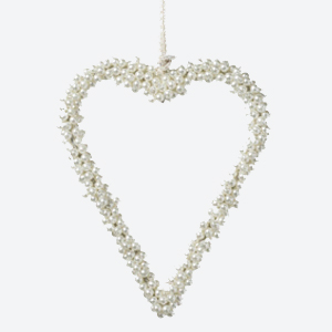 Parlane Hanging Heart Pearl Beads White