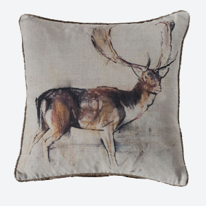 Pavilion Chic Stag Cushion in Natural