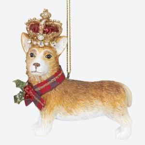 Gisela Graham Christmas Tree Decoration Corgi with Crown