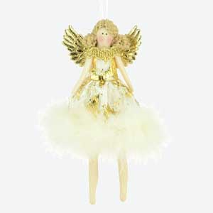 Christmas Tree Decoration Feather Skirt Angel Gold