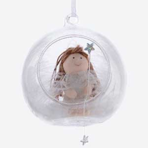 Kaemingk Christmas Bauble with Angel Clear Glass White
