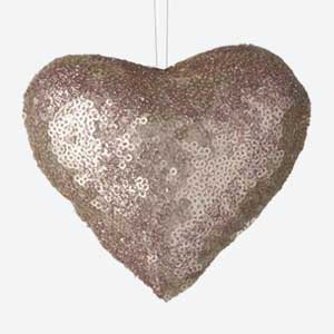 Parlane Christmas Tree Decoration Heart Sequin Pink