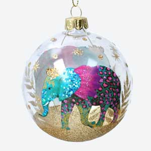 Giesla Graham Clear Christmas Bauble with Elephant