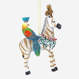 Gisela Graham Zebra Tree Decoration with Parrot