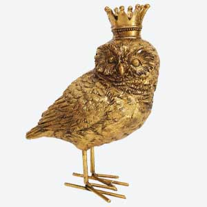 Gisela Graham Christmas Decoration Owl with Crown Gold