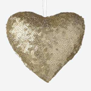 Parlane Christmas Tree Decoration Heart Sequin Gold