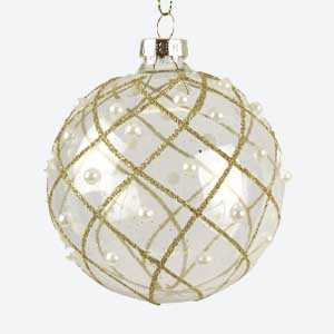 Gisela Graham Clear Christmas Bauble with Gold & Pearls