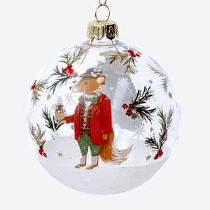 Gisela Graham Clear Christmas Bauble with Dressed Fox