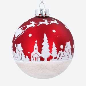 Gisela Graham Red Christmas Bauble with Glitter Snow Scene