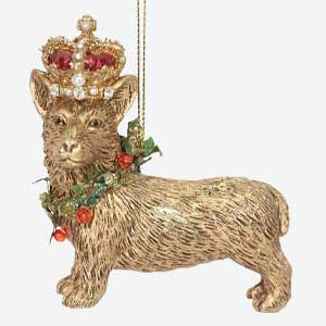 Gisela Graham Christmas Tree Decoration Corgi with Crown Gold