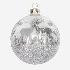 Gisela Graham Silver Christmas Bauble with Glitter Stag
