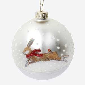 Gisela Graham Glass Christmas Bauble with Hare