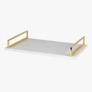 Pavilion Chic Tray with Gold Handle Marble Kingston