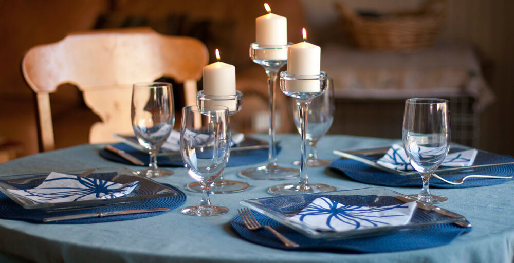 Blue and Silver Christmas Table Decorations