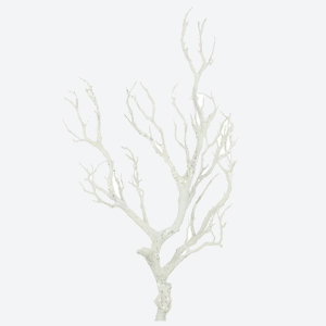 Pavilion Flowers Artificial Branch Glitter White Height 80cm