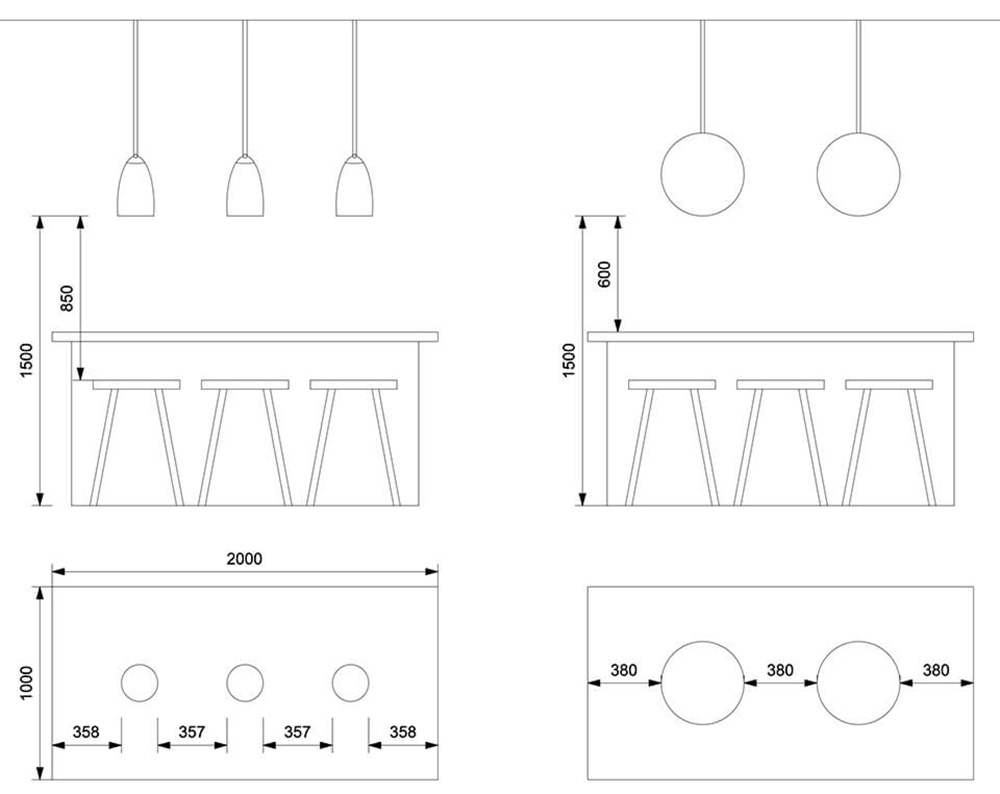 Interior Designer Lighting Tips - How to Space Pendant Lights Over Island
