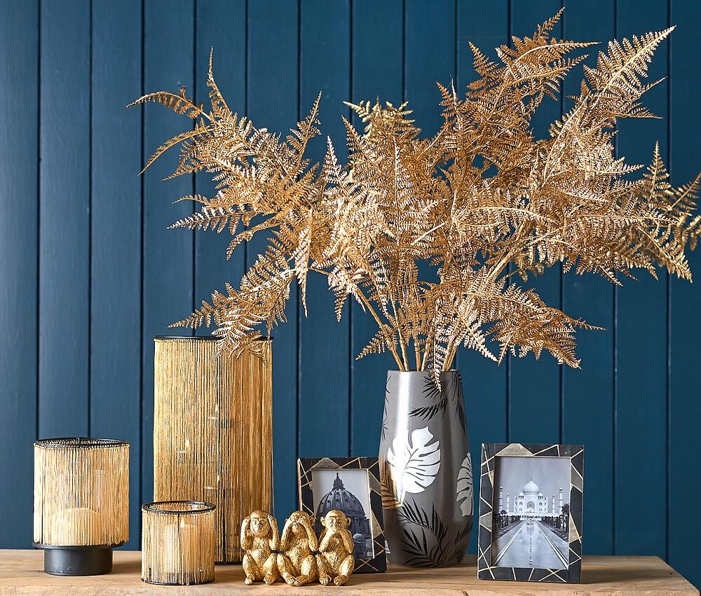 Autumn Winter Flowers - Parlane Gold Ferns in Grey Vase