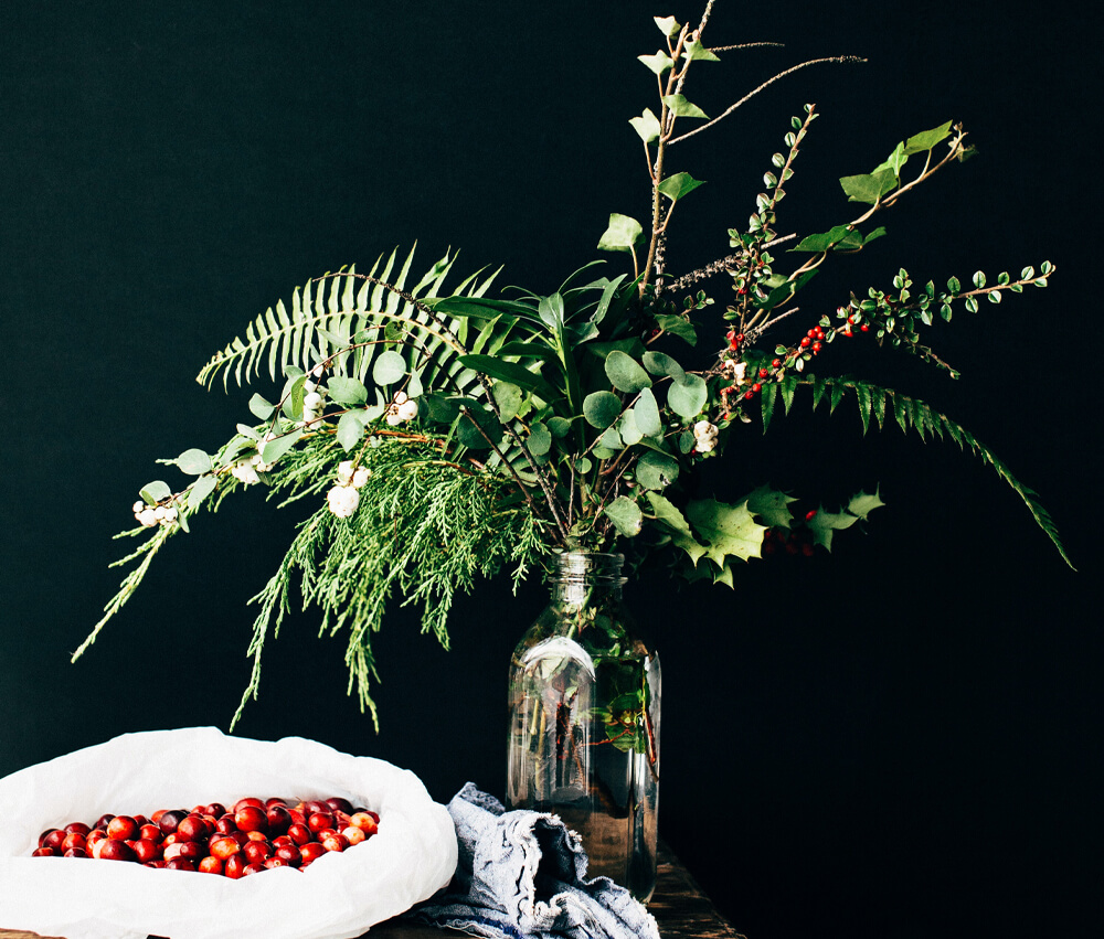 Autumn Winter Flowers - Holly, Ivy and Foliage in Glass Vase