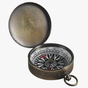 Authentic Models Brass Pocket Compass Dark
