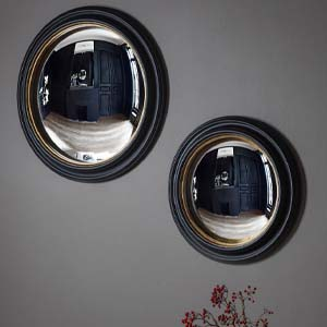 Pavilion Chic Trinity Gold & Black Convex Mirror