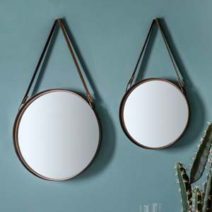 Pavilion Chic Iole Pair of Mirrors Faux Leather Strap