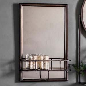 Pavilion Chic Hill Rectangular Metal Mirror with Shelf