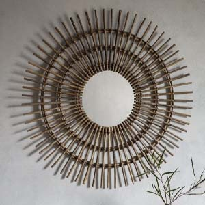Pavilion Chic Round Wall Mirror Agda in Rattan