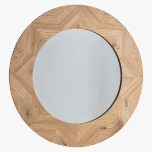 Pavilion Chic Papeete Large Round Oak Mirror