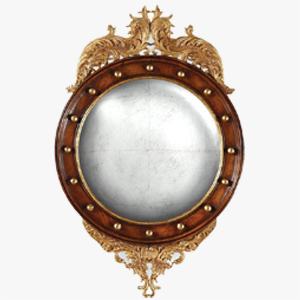Jonathan Charles Convex Mirror Monarch in Eglomise