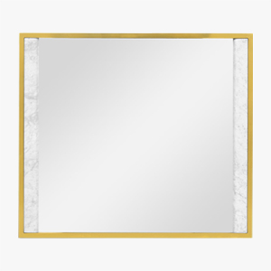 Jonathan Charles Square Wall Mirror with White Marble Edge