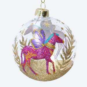 Gisela Graham Clear Christmas Bauble with Horse