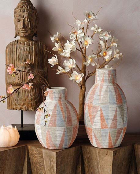 patterned Japandi vases by Parlane International with faux blossom in background