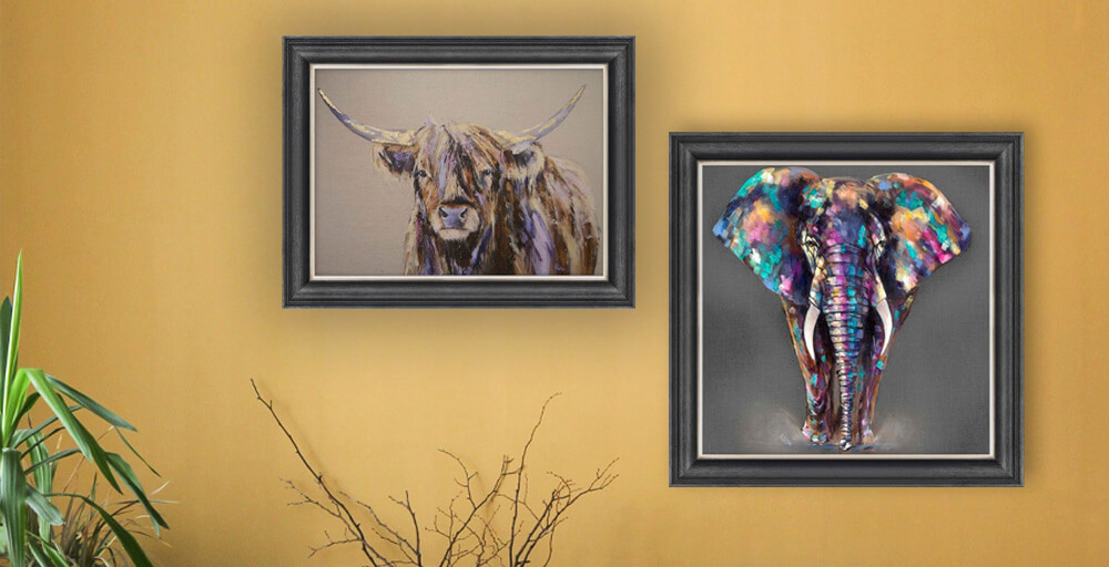 Louise Luton Art featuring 'Archie' highland cow and 'Hugo' elephant