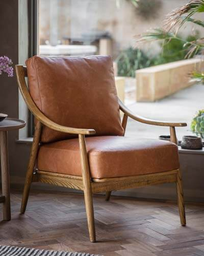 Pavilion Chic Millow Armchair in Brown Leather