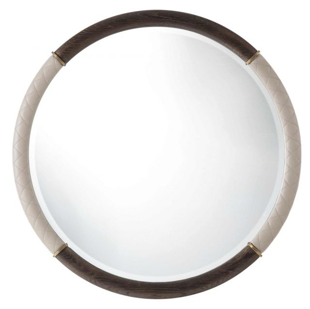 Theodore Alexander Round Wall Mirror Devona in Leather