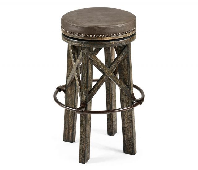 Jonathan Charles Dark Driftwood Bar Stool Rustic in Leather