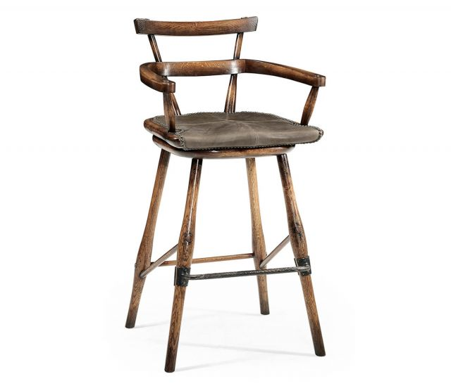 Jonathan Charles Dark Brown Oak Bar Stool with Leather Seat