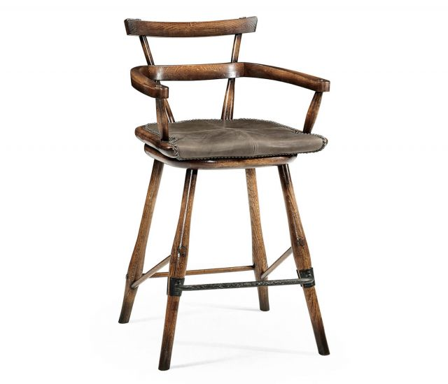 Jonathan Charles Dark Brown Oak Counter Stool with Leather Seat