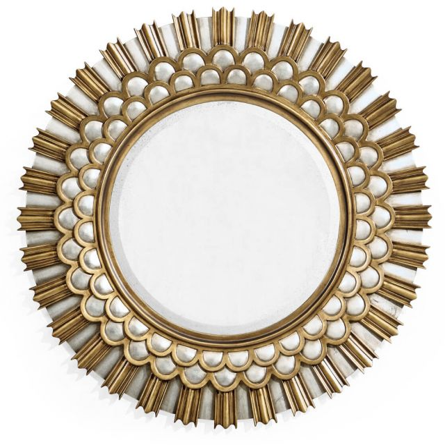 Jonathan Charles Burst Gilded Round Wall Mirror - Small