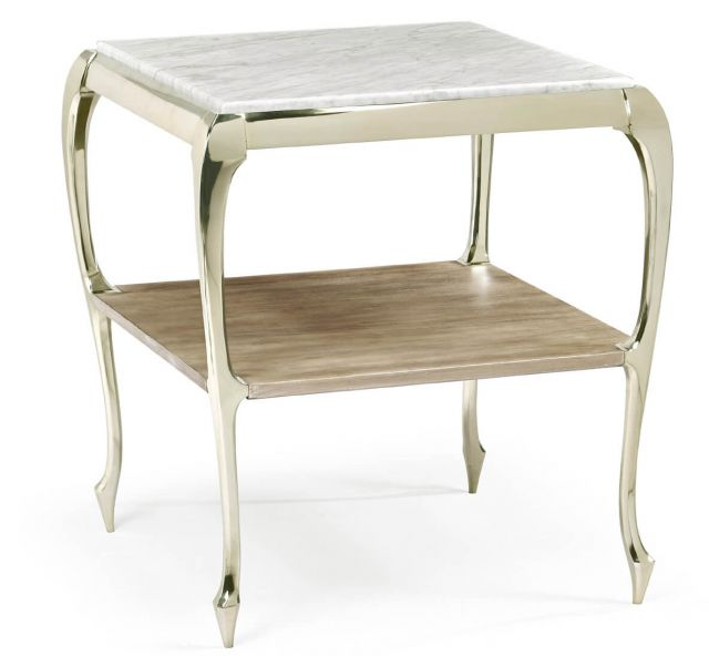 Jonathan Charles Parisian Square Side Table with Marble Top
