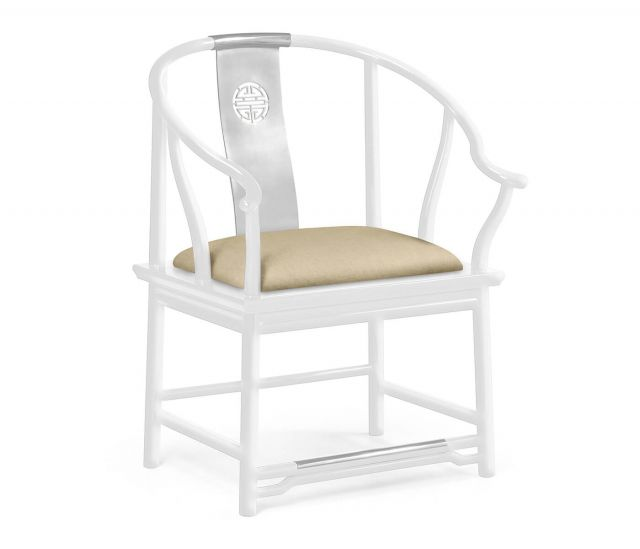 Jonathan Charles Asian Fusion Curved Dining Armchair White Gloss